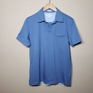 Men's Banana Republic Polo Fitted Pima Tee Blue S
